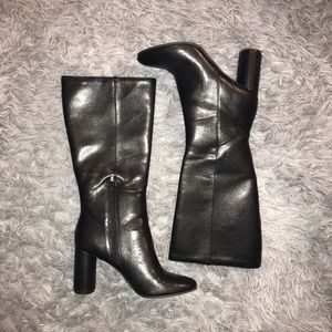 faux leather kneee high boots